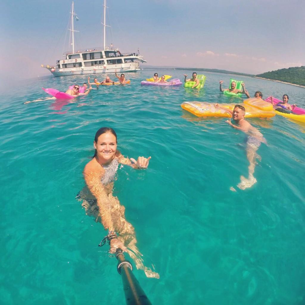 Morning dip on a Topdeck Croatia sailing tour