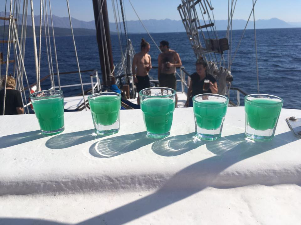 Shots for breakfast sailing in Croatia with Topdeck
