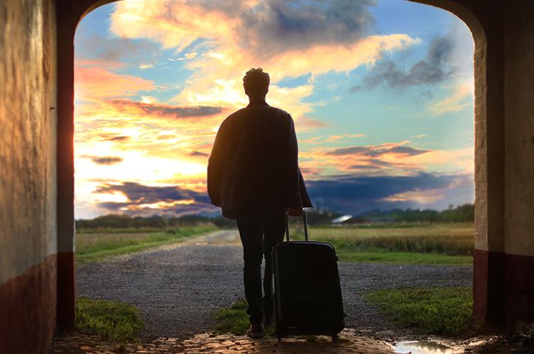 Travel-Sunset-Suitcase-Map