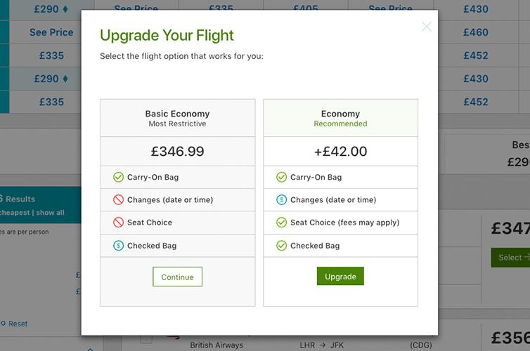 Upgrade your flight bar on StudentUniverse wesbite